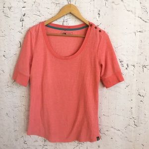 The North Face Tops - THE NORTH FACE PINK ORANGE SHIRT L